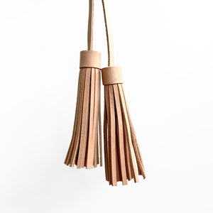Tassel Pair, Small, Natural Leather