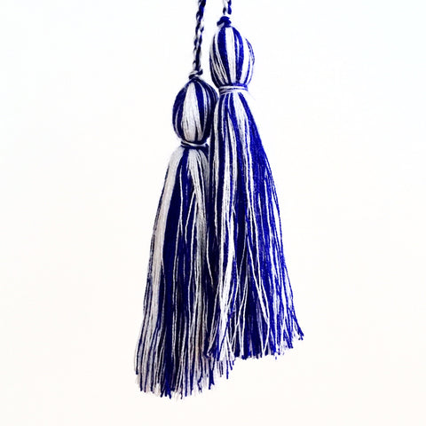 Tassel Pair, Indigo/White Mix