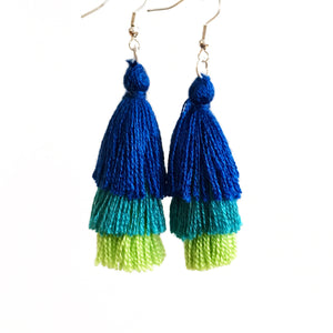 Triple Tassel Earrings, Royal, Teal & Lime