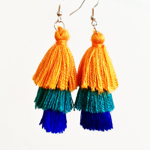 Triple Tassel Earrings, Orange, Teal & Royal