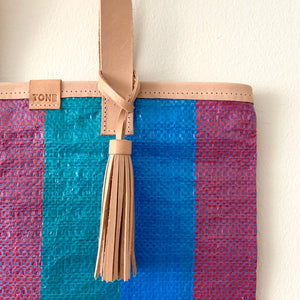 Essential Tote, Teal, Aqua & Purple, Natural