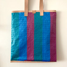 Load image into Gallery viewer, Essential Tote, Teal, Aqua & Purple, Natural