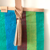 Essential Tote, Grean, Blue & Teal, Natural