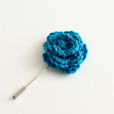 Lapel Bloom with Long Pin, Turquoise