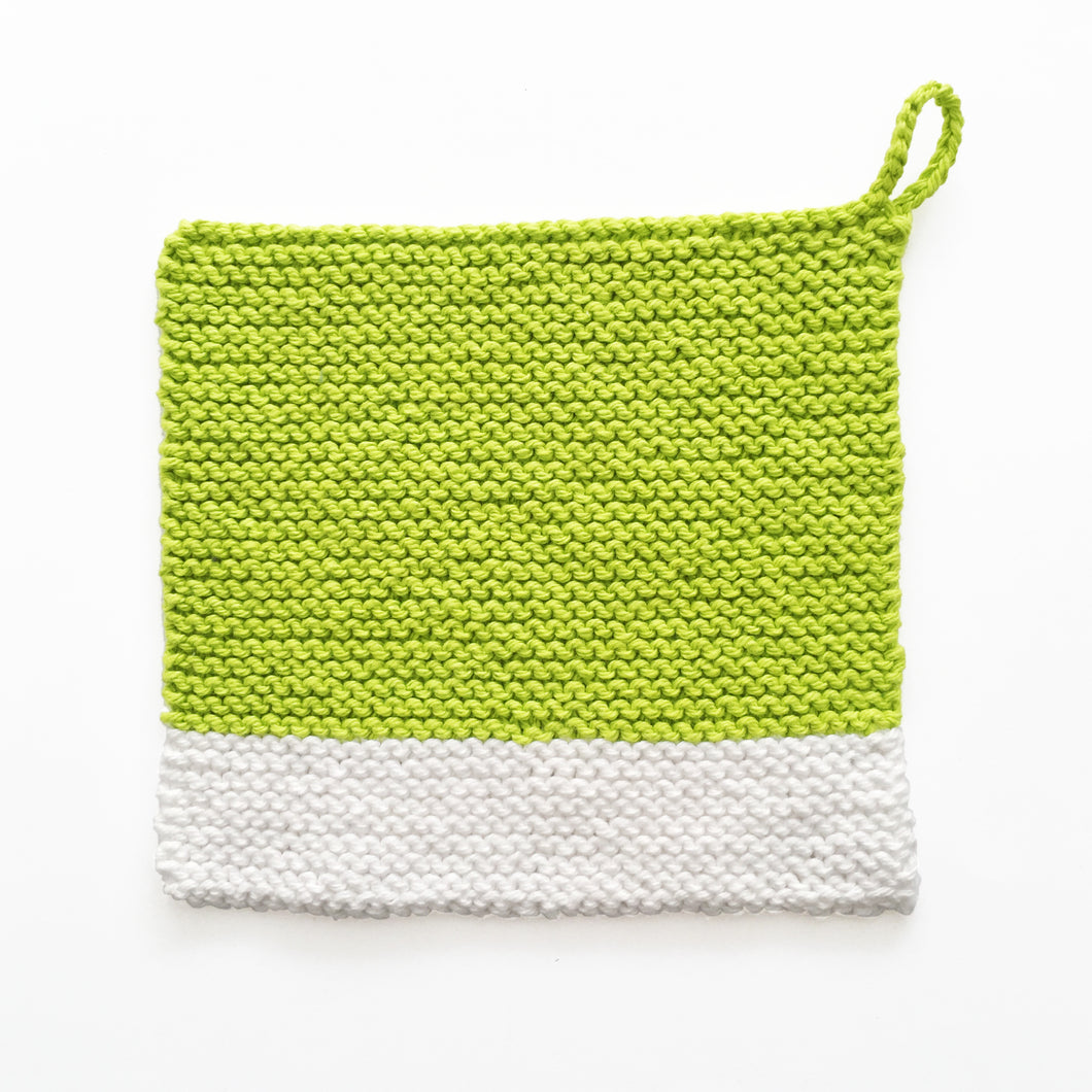 Chartreuse colour chip pot holder, hand crocheted in Toronto | TONEtexiles.ca