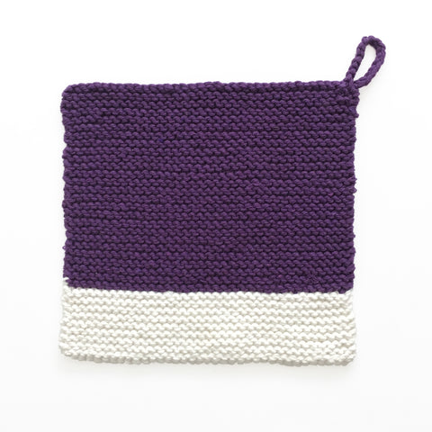Colour Chip Pot Holder/Dish Cloth, Plum