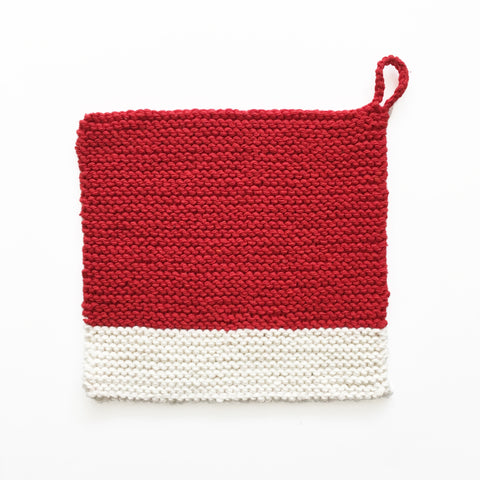 Colour Chip Pot Holder/Dish Cloth, Red