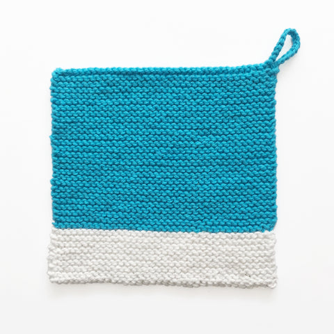 Colour Chip Pot Holder/Dish Cloth, Turquoise