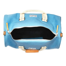 mastline barrel duffel bag canvas and leather light blue