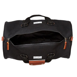mastline barrel duffel bag canvas and leather black