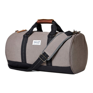 mastline barrel duffel bag canvas and leather taupe grey