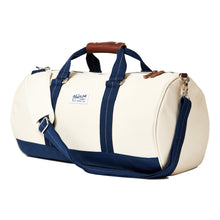 mastline barrel duffel travel bag canvas and leather white