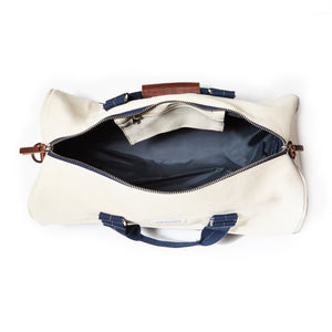 mastline barrel duffel bag canvas and leather white