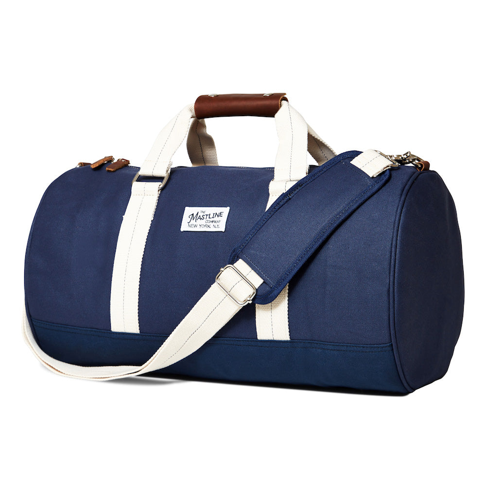 mastline barrel duffel bag canvas and leather navy