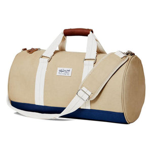 mastline barrel duffel bag canvas and leather khaki