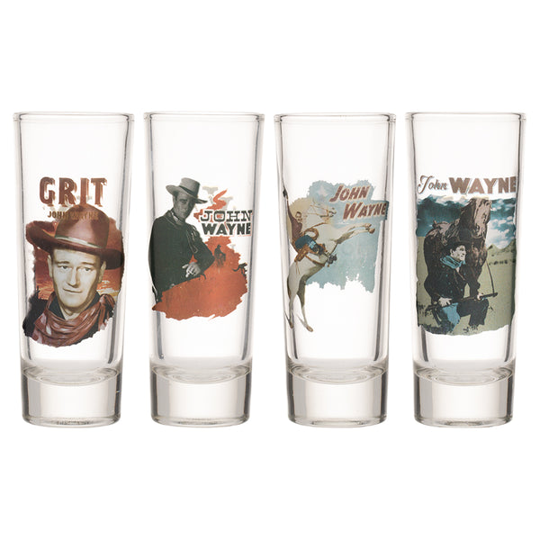 John Wayne 4 pc. Tall Glass Shooter Set