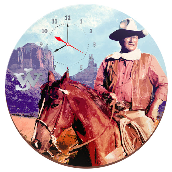 "John Wayne 13.5"" Cordless Wood Wall Clock"