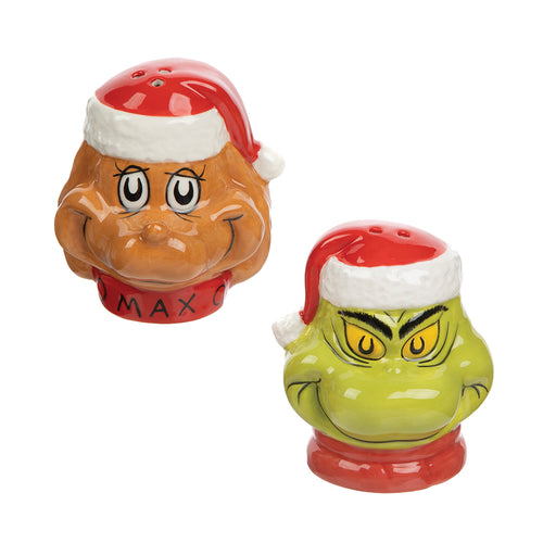 Dr. Seuss The Grinch Sculpted Ceramic Salt & Pepper Set