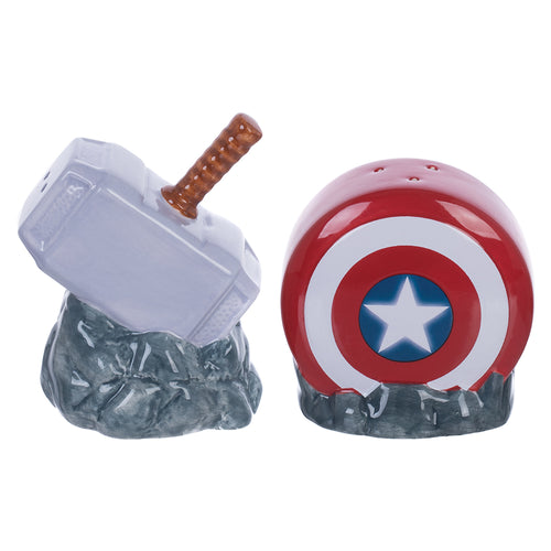Marvel Captain America Shield & Thor Mjolnir Sculpted Ceramic Salt & Pepper Set