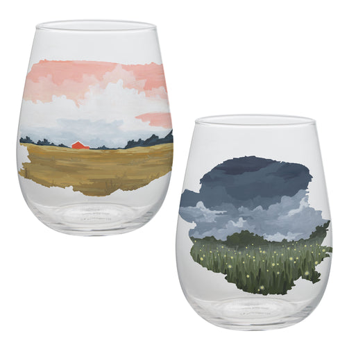 1canoe2 Twilight 2 pc. 18 oz. Contour Glass Tumbler Set