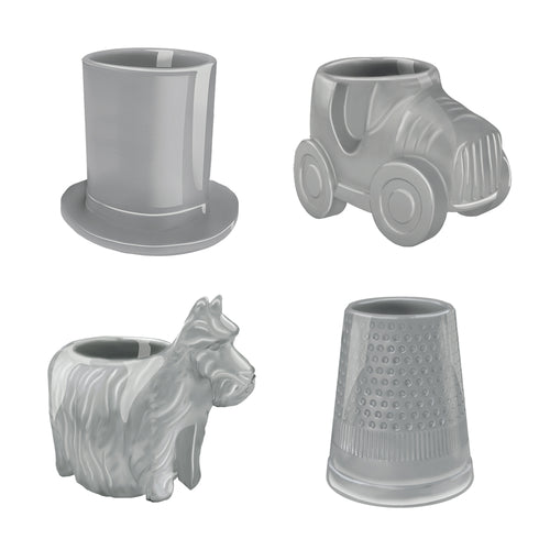 Hasbro Gaming Monopoly Game Pieces 4 pc. Mini Sculpted Ceramic Glasses