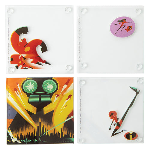 Disney Pixar The Incredibles 2 4 pc. Stacking Glass Coaster Set