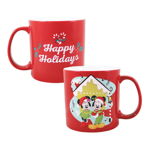 Disney Holiday Mickey Mouse & Minnie Mouse Santa Hat 20 oz. Ceramic Mug