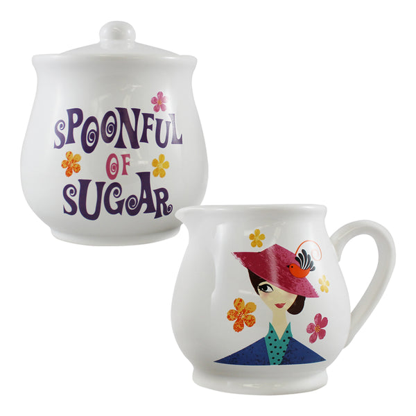Disney Mary Poppins 2 pc. Ceramic Sugar Bowl & Creamer Set