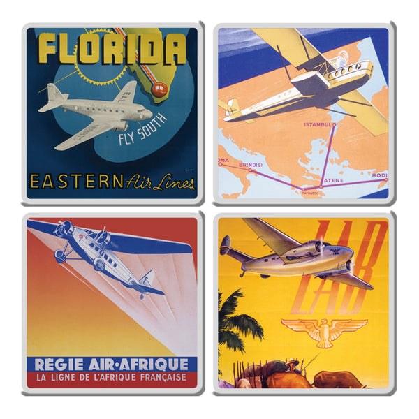 Smithsonian Vintage Travel Poster 4 pc. Ceramic Coaster Set