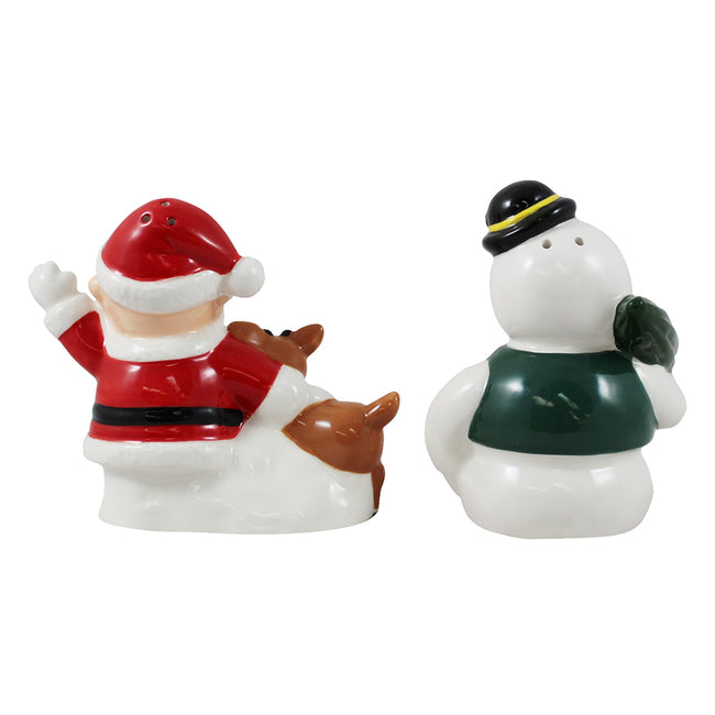 Rudolph Santa & Sam the Snowman Sculpted Ceramic Salt & Pepper Set