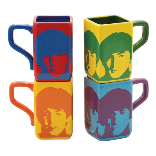 The Beatles Color Bar 4 pc. 12 oz. Square Mug Set
