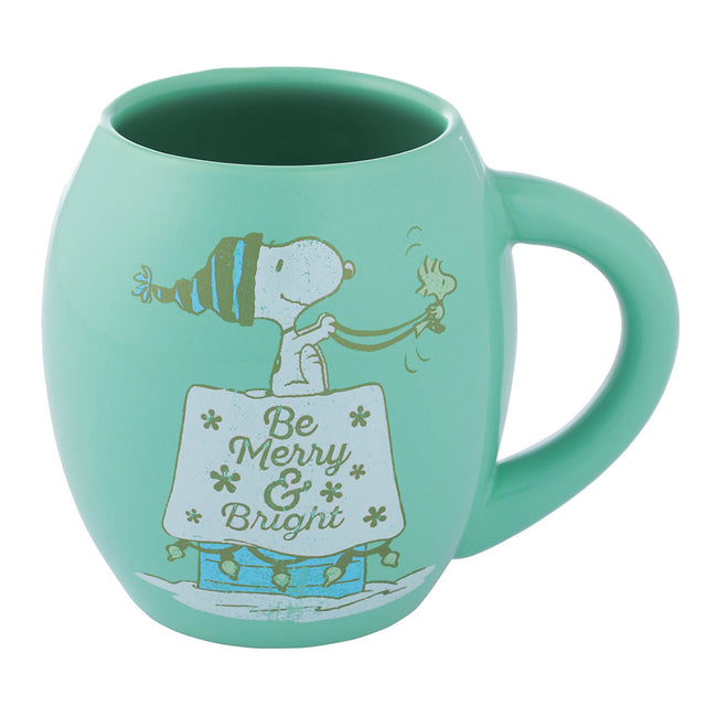 Peanuts Snoopy Merry & Bright Holiday 18 oz. Oval Ceramic Mug