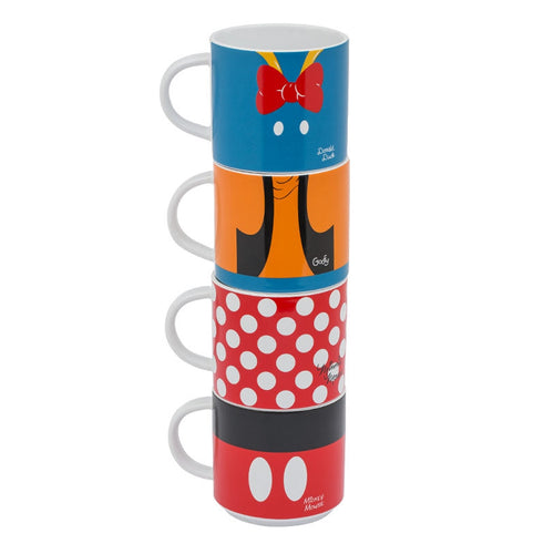 Disney Mickey & Friends 4 pc. Stacking Ceramic Mug Set