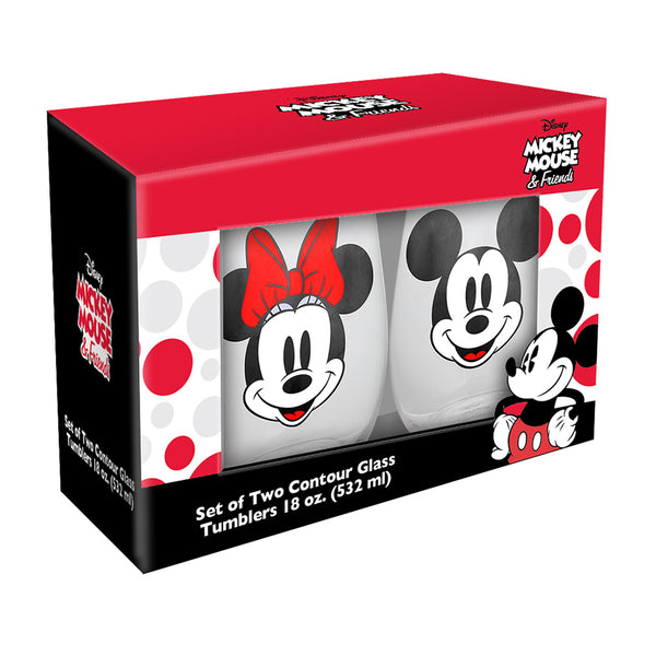 Disney Mickey & Minnie Mouse 18 oz. Contour Glasses - Set of 2