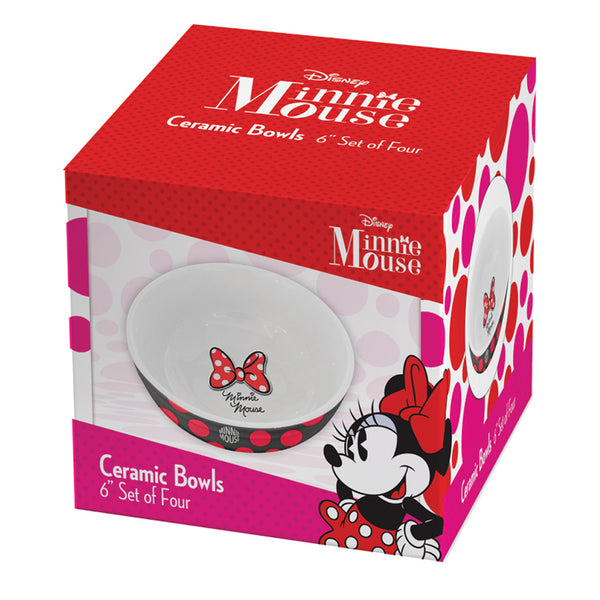 Disney Minnie Mouse 6 in. Ceramic Bowl - Set of 4