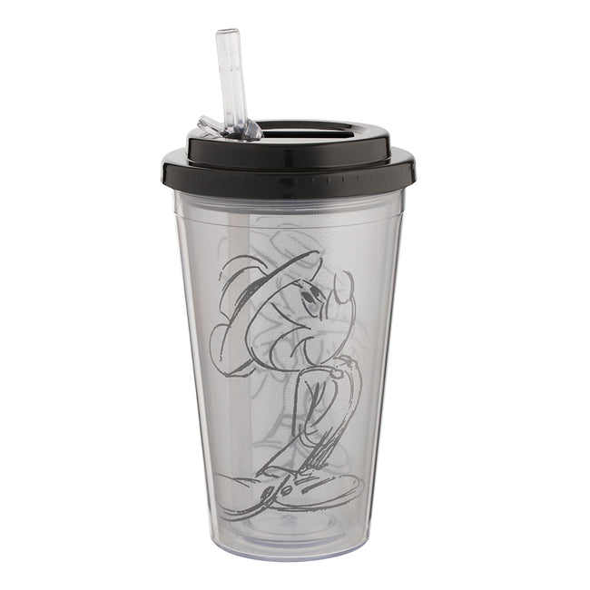 Disney Mickey Mouse Black & White 16 oz. Flip Straw Acrylic Cup