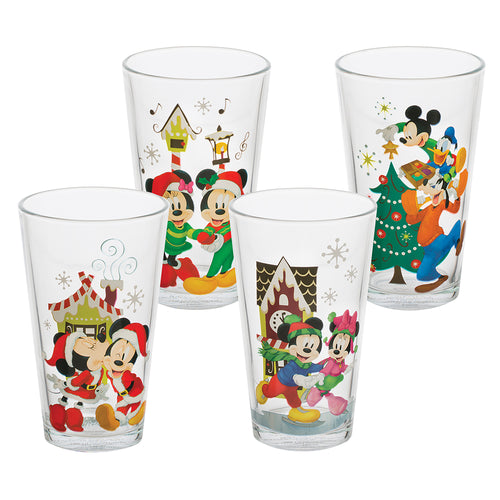 Disney Mickey & Minnie Holiday 16 oz. Glasses - Set of 4