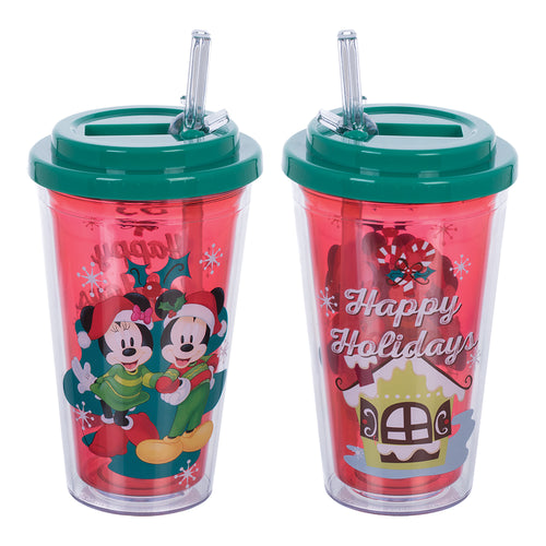 Disney Mickey & Minnie Happy Holidays 16 oz. Flip Straw Acrylic Cup