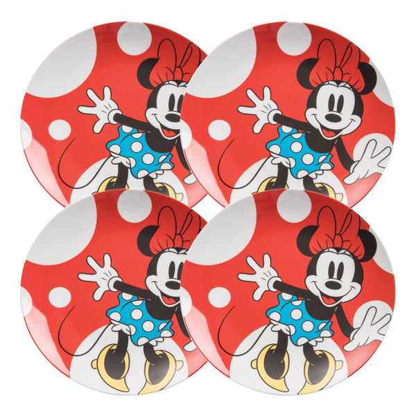 Disney Minnie Mouse 4 pc. 10 in. Ceramic Dinner Plate Set