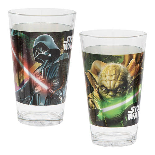 Star Wars Darth Vader & Yoda 2 pc. 16 oz. Laser Decal Glass Set