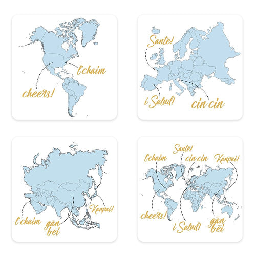 Global Cheers 4 pc. Ceramic Coaster Set