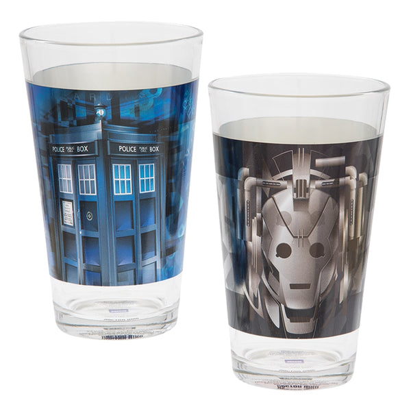 Doctor Who 16 oz. Laser Decal Glasses - Set of 2