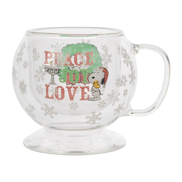 Peanuts Snow Globe Double Wall Glass Mug