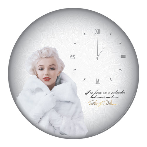 "Marilyn Monroe 13.5"" Cordless Wood Wall Clock"
