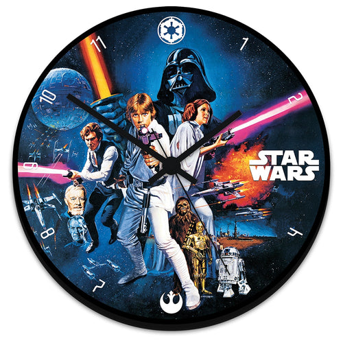 "Star Wars 13.5"" Cordless Wood Wall Clock"