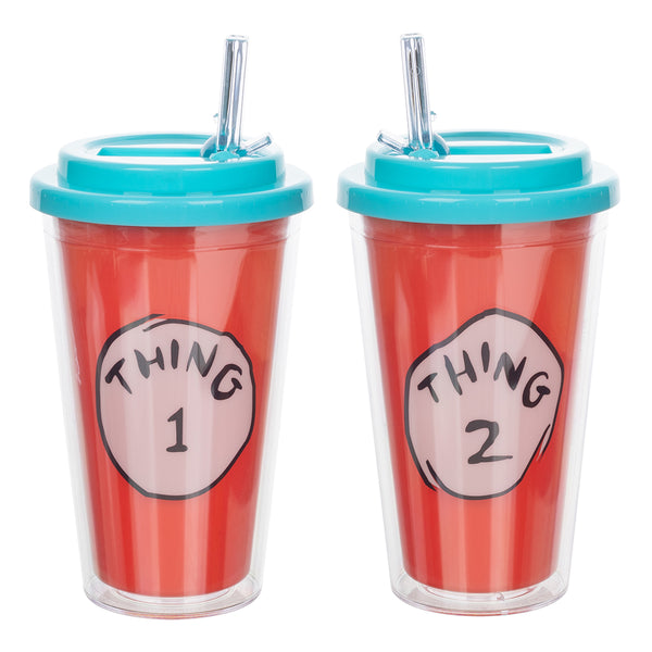 Dr. Seuss Thing 1 & Thing 2 16 oz. Flip Straw Acrylic Cup