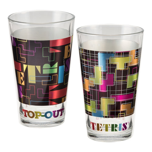 TETRIS 2 pc. 16 oz. Laser Decal Glass Set