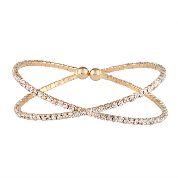 Jaw Cross Rhinestone Bangle