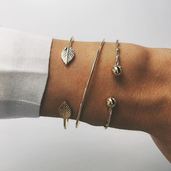 Leaves & Twist Bangle Set