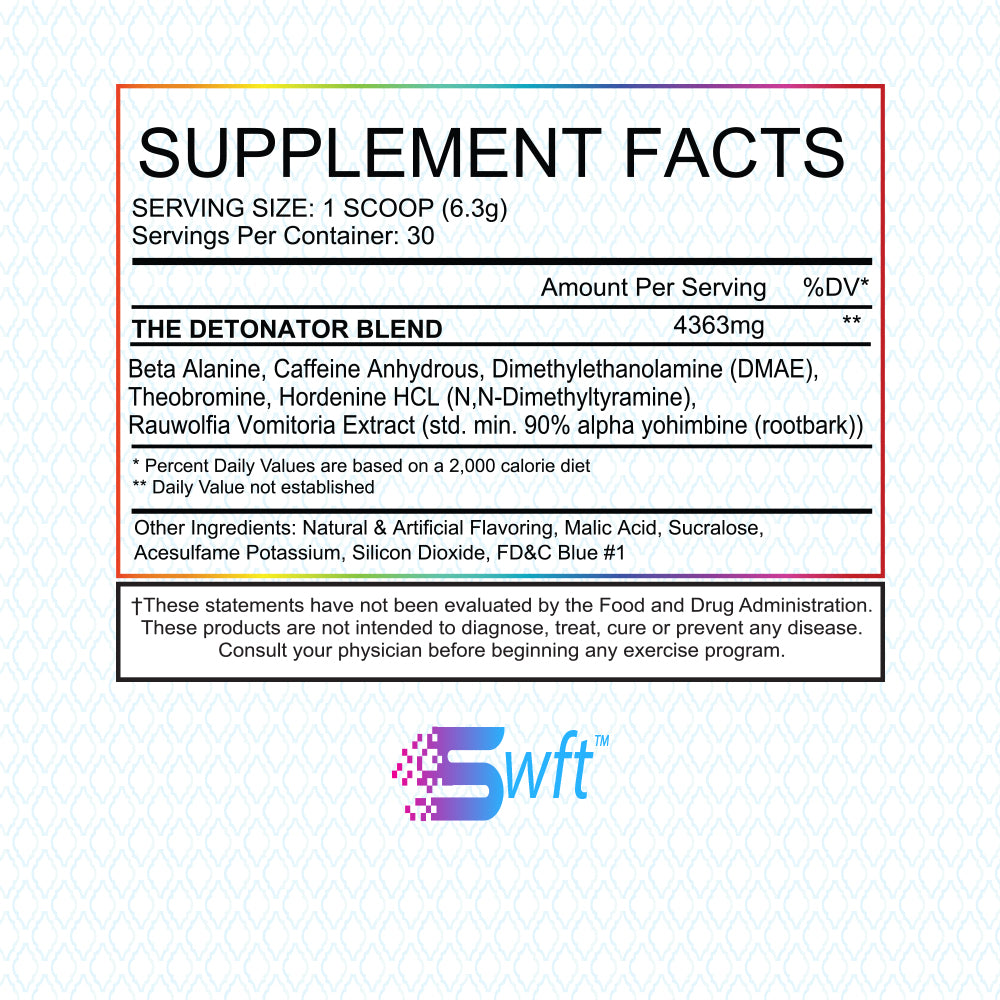 SWFT Stimbomb Stim Bomb Supplement Facts